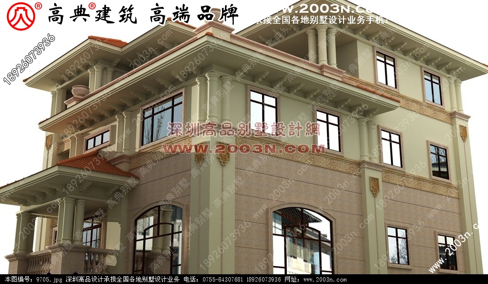 广东农村四层别墅效果图 四层别墅效果图和图纸
